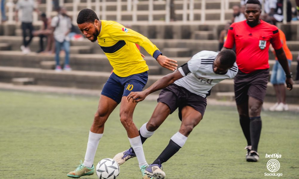 Guns striker, Ariyo, shields the ball from Saints captain, Zizou
